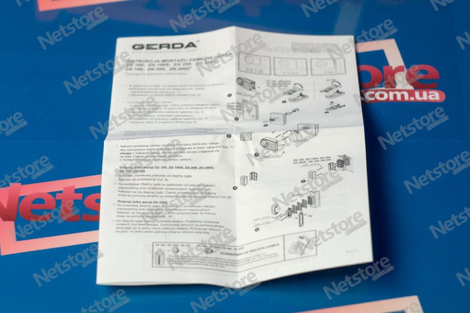 инструкция Gerda ZN 100 накладной замок для дверей